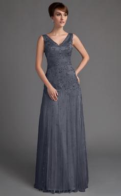 A-linjainen/Prinsessa V-kaula-aukko Lattiaa hipova pituus Tylli Morsiamen äiti-mekko jossa Helmikoristelu Paljetit (008005647)