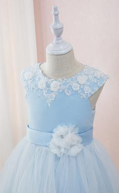 Corte De Baile/Princesa Hasta el tobillo Vestidos de Niña Florista - Satén/Tul/Encaje Sin mangas Escote redondo con Cuentas/Flores (010195351)