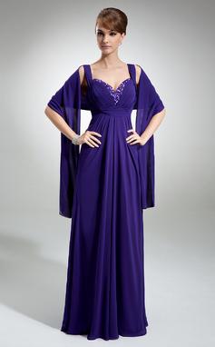 Empire-tyylinen Kullanmuru Lattiaa hipova pituus Sifonki Morsiamen äiti-mekko jossa Rypytys Helmikuvoinnit (008005660)