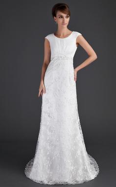 Vestido tubo Escote redondo Cola corte Encaje Vestido de novia con Volantes Cuentas (002001630)