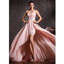 Corte A Novio Asimétrico Gasa Vestido de baile de promoción (018020814)