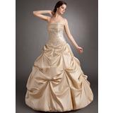 Tanssiaismekot Olkaimeton Lattiaa hipova pituus Tafti Quinceanera mekko jossa Rypytys Helmikuvoinnit Applikaatiot Pitsi (021003125)