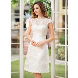 Corte A Escote redondo Hasta la rodilla Encaje Vestido de novia (002052768)
