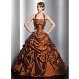 Corte de baile Cabestro Hasta el suelo Tafetán Vestido de quinceañera con Volantes Bordado (021014753)