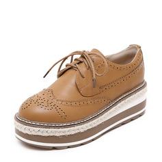 De mujer Cuero de microfibra Tipo de tacón Cuñas con Cordones Agujereado zapatos (086138225)