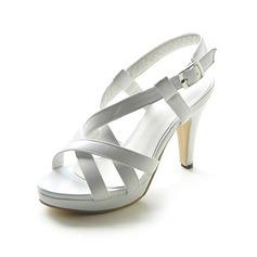 De mujer Cuero Tacón stilettos Sandalias Plataforma Solo correa con Hebilla zapatos (087013052)