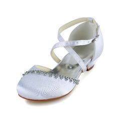 Muchacha Punta Cerrada Satin El talón bajo Salón Zapatos de niña de las flores con Hebilla Rhinestone (207095479)