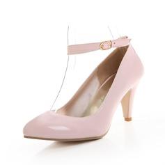 Piel brillante Tacón en cono Salón Cerrados con Hebilla zapatos (085059489)