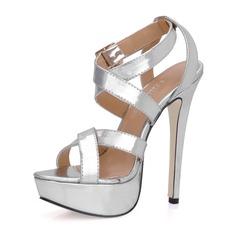 De mujer Piel brillante Tacón stilettos Sandalias Plataforma Solo correa con Hebilla zapatos (087015276)