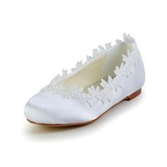 Muchacha Punta Cerrada Satin Talón plano Planos Zapatos de niña de las flores con Apliques (207095470)