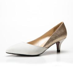 De mujer Ante Brillo Chispeante Tacón bajo Salón Cerrados zapatos (085085028)