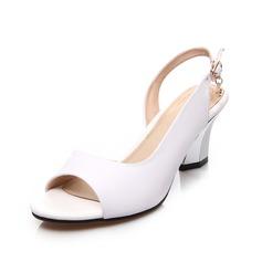 Piel Tacón ancho Sandalias Solo correa zapatos (087062771)