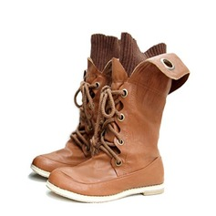 Keinonahasta Matalakorkoiset Heel Mid-calf saappaat Ratsastussaappaat jossa Nauhakenkä kengät (088059492)
